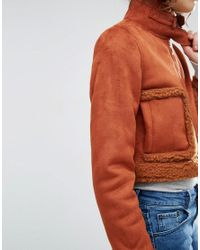 ASOS Orange Cropped Faux Shearling Jacket With Funnel Neck