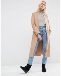 Helene Berman Blue Drapey Longline Jacket In Camel