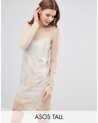ASOS | Pink Lace Shift Dress With Grey Marl Lining | Lyst