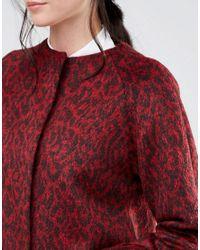 Helene Berman Collarless Swing Coat In Red Animal
