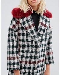 Helene Berman White Fur Collar Coat Tweed Check With Red Fur