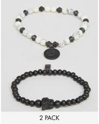 Icon Brand | Beaded Bracelets In 2 Pack - Black for Men | Lyst