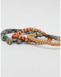 Icon Brand - Brown Rope & Beaded Bracelet Pack for Men - Lyst