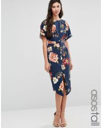 ASOS Blue Wiggle Dress In Navy Large Scale Floral Print