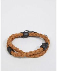 Icon Brand - Plaited Wrap Bracelet In Brown for Men - Lyst