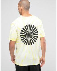 Weekday Yellow Frank Ss Tee Longer Sleeve Tie Dye Printed T-shirt for men