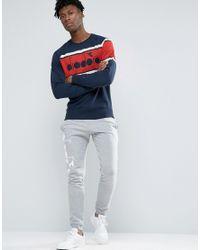 Diadora Blue Sweatshirt With Retro Large Logo for men