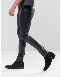ASOS Black Extreme Super Skinny Jeans In Faux Leather for men
