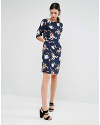 Y.A.S - Blue Magnolia Orchid Floral Long Sleeve Dress - Lyst