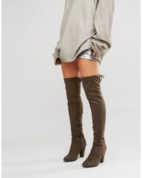 Call It Spring Multicolor Qeiven Khaki Sock Heeled Over The Knee Boots