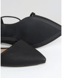 Call It Spring Black Nespolo Strap Detail Point Flat Shoes