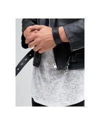 DIESEL - A-hustle Leather Cuff Bracelet In Black for Men - Lyst