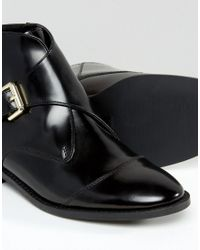 Office Black Anthem Buckle Strap Leather Ankle Boots