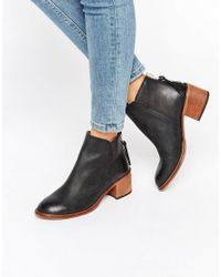 Office Amends Back Zip Leather Heeled Ankle Boots - Black Leather