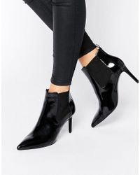 Office Black Angle Point Heeled Ankle Boots