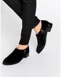 Office Black Flex Side Zip Velvet Flat Shoes