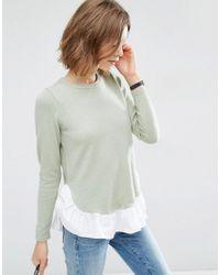 ASOS Green Sweater With Woven Ruffle Hem
