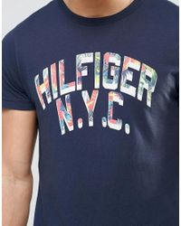 Tommy Hilfiger | Blue T-shirt With Floral Infill Logo In Navy In Regular Fit for Men | Lyst