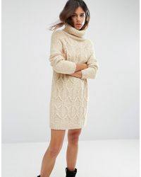 ASOS | Natural Sweater Dress In Cable Stitch With Roll Neck | Lyst