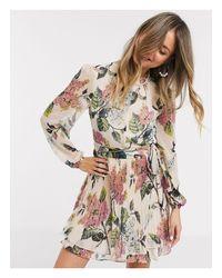 Oasis Natural Floral Pleated Skater Dress