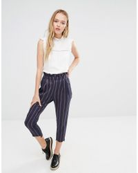 I Love Friday Blue Awkward Length Trousers In Stripe - Navy