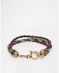 Icon Brand - Green Skull Plaited Bracelet for Men - Lyst