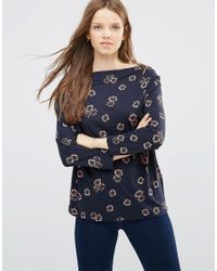 French Connection | Blue Cowl Front Top In Ditsy Floral Print | Lyst