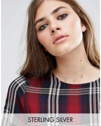 ASOS - Metallic Sterling Silver Station Charm Choker Necklace - Sterling Silver - Lyst