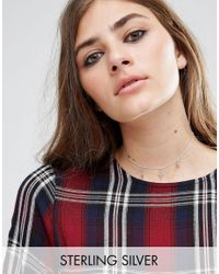 ASOS - Metallic Sterling Silver Station Charm Choker Necklace - Lyst