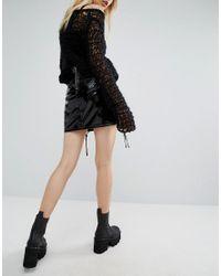Tripp Nyc Black Pvc Lace Up Sides Skirt