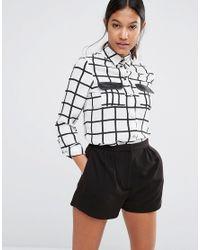 Lipsy Black Michelle Keegan Loves Mono Check Pocket Blouse