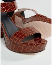 ASOS Brown Harbour Wide Fit Platform Sandals