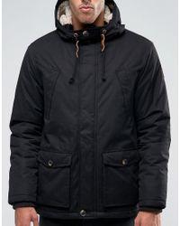 Esprit Black Parka With Borg Lined Hood for men