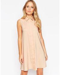 ASOS - Black Sleeveless Shirt Dress - Lyst