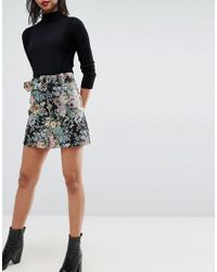 ASOS - Multicolor Mini Skirt In Floral Jacquard With Belt - Lyst