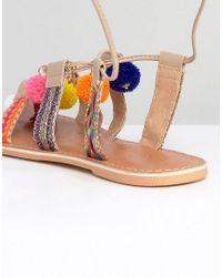 ASOS - Multicolor Fresh Wide Fit Leather Pom Tie Leg Sandals - Lyst