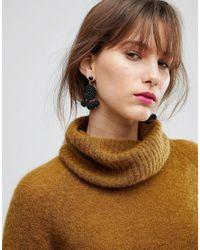 ASOS | Black Limited Edition Seedbead Pom Pom Earrings | Lyst
