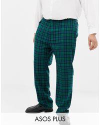 Plus Wedding - Pantaloni da abito skinny con motivo scozzese Blackwatch di ASOS in Green da Uomo