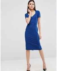 ASOS   Blue Sculpt Pencil Dress With Short Sleeve   Lyst