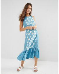 YMC Patterened Shift Dress - Powder Blue