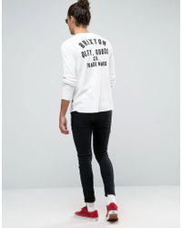 Brixton White Woodburn Long Sleeve T-shrt In Waffle With Logo Back Print for men
