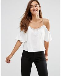 105bb45fe09f2 Lyst - ASOS Cold Shoulder Cami Top With Lace Trim In Satin Finish ...