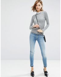 ASOS - Gray Jumper In Mohair With Lace Neck Detail - Lyst