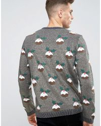 ASOS - Christmas Jumper With Xmas Puddings In Metallic Yarn for Men - Lyst