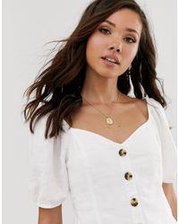 Chemise boutonnée en lin Abercrombie & Fitch en coloris White