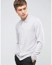 Reiss Gray Long Sleeve Button Through Textured Polo for men