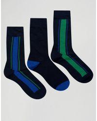 Pringle of Scotland Blue Verticle Stripe In 3 Pack Socks Navy for men