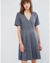 YMC - Blue Wool Pleated Skater Dress - Lyst