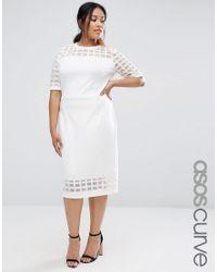 ASOS White Cage Mesh Insert Midi Pencil Dress