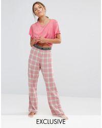 Chelsea Peers Pink Checked Long Trouser & Tee Pyjama Set
